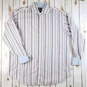 Thomas Dean Mens Dress Shirt XL Multicolor Stripe